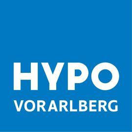 Hypo Vorarlberg Logo blauer Hintergrund weiße Schrift